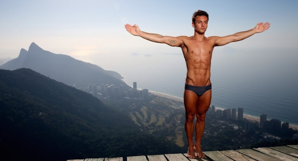 RIO DE JANEIRO, BRAZIL - JANUARY 18:  Olympic Gold Medal winning diver Tom Daley of Great Britain poses for a portrait during a break from training for the 2016 Rio Olympic Games at the Rampa da Pedra Bonita (Pedra Bonitas ramp) on January 18, 2015 in Rio de Janeiro, Brazil.  (Photo by Matthew Stockman/Getty Images)