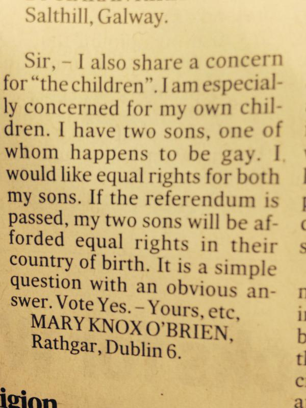 Carta en Irish Times